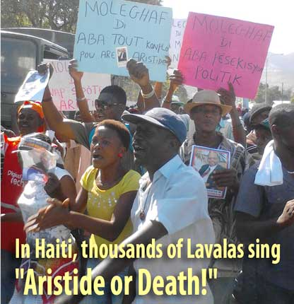 "In Haiti, thousands of Lavalas sing ""Aristide or Death!"""